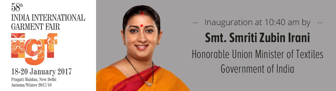 Image result for SmritiIrani inaugurates 58th India International Garment Fair