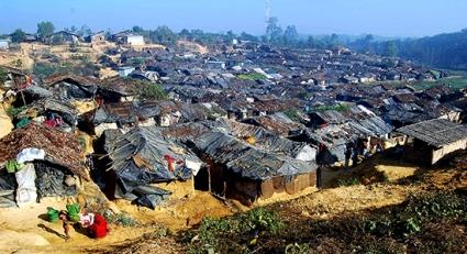 The view of Kutupalong makeshift camp ( unregistered Rohingya refugee camp in Kutupalong)