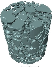 """A nano-CT scan of """"thubber,"""" showing the liquid metal microdroplets inside the rubber material. Credit: Carnegie Mellon University"""