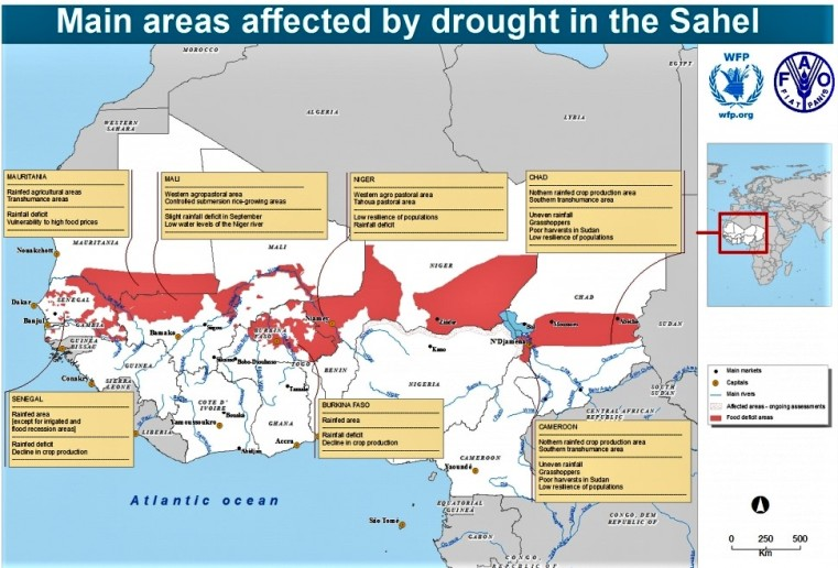 Map of main areas affected by drought in the Sahel area.