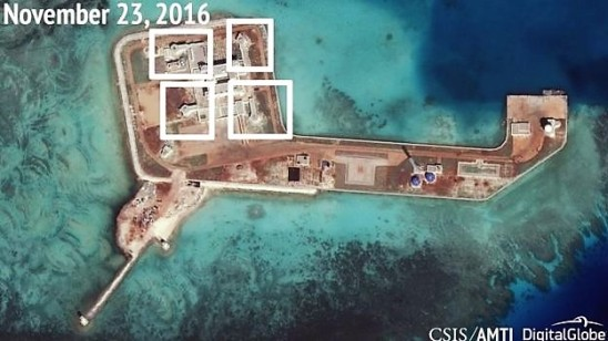 A think-tank published images last year showing what it said were military facilities on some islands